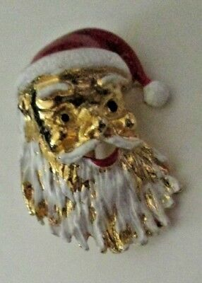 Vintage GERRY'S Christmas SANTA CLAUS face brooch pin 1.25""