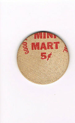 Vintage Wooden Nickel Mini Mart 5 Cents - Side 2 Red Ink Buffalo USA *Ships Free