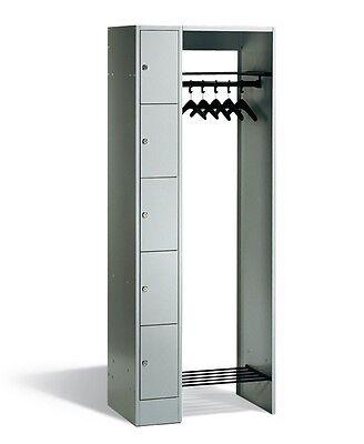 1.950x740x480mm, Schließfachschrank, Garderobe mit 5 Fächern RAL 7035