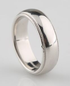 Tiffany Co Mens Platinum Milgrain Wedding Band Ring 6mm Size 7 5 Retired Piece