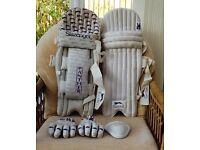 Slazenger Cricket pads, gloves and box