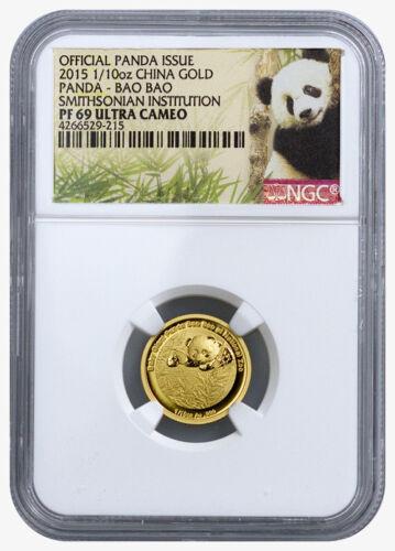 2015 China Panda Bao Bao 1/10 oz Gold Medal Smithsonian NGC PF69 UC SKU36057