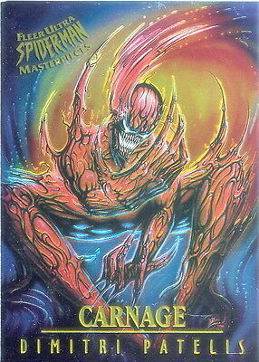 SPIDER-MAN 1995 FLEER ULTRA MASTERPIECES INSERT CARD 3 OF 9 CARNAGE PATELIS MA