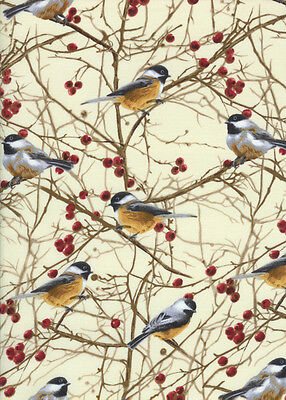 Timeless Treasures Birds Chickadees on Trees 100% cotton fabric by the yard
