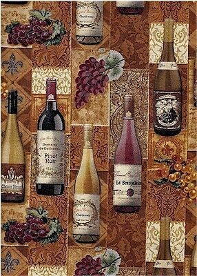 Wine Bottles, Springs Creative. 1 Yard Cut Cotton Quilting Fabric