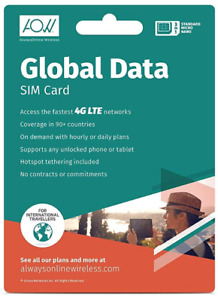 AOW Global Data SIM Card for On-Demand 4G LTE Mobile Data