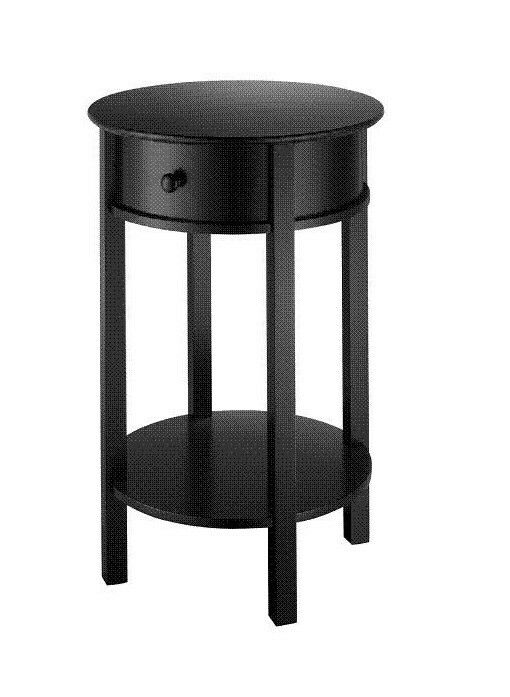 Small Black Round Accent End Table Side Foyer Bedroom Home
