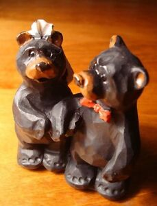 ADORABLE-STANDING-BLACK-BEAR-BRIDE-GROOM-WEDDING-CAKE-TOPPER-Cabin-Lodge-NEW