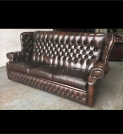 🔥🔥genuine antique chestnut brown leather chesterfield 3 seater sofa Settee wingback monk 🎉