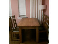 Rustic farmhouse antique English oak dining kitchen table 4 chairs vintage solid oak
