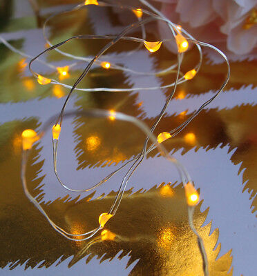 20 Amber LED Fairy String Lights, Wire (6ft, Battery Operated)