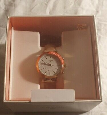 Fossil Hybrid Rose Gold Smartwatch with Genuine Leather Strap - New (Ex-Display)