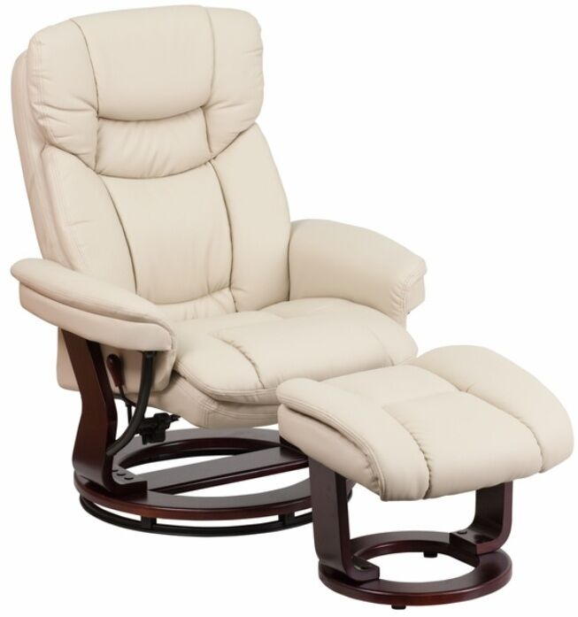 beige leather swiveling recliner with ottoman arm
