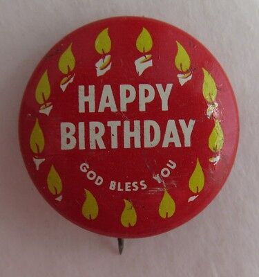 SCRIPTURE PRESS HAPPY BIRTHDAY GOD BLESS YOU PIN PINBACK BUTTON     (INV2305) (Happy Birthday Scriptures)
