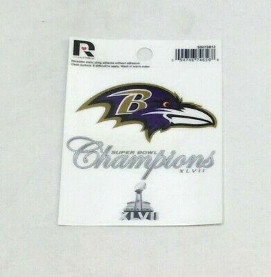 Baltimore Ravens Superbowl 47 Champioms Small Static Cling Window Decal 3x4 Size Baltimore Ravens Window Decals
