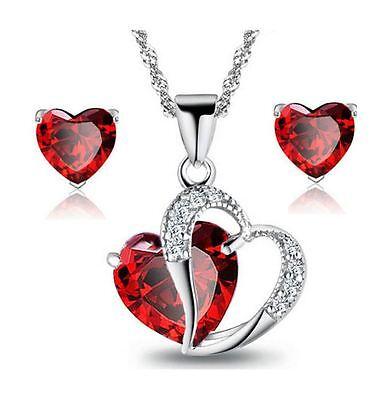 Sterling Silver Red Garnet Heart Crystal Pendant Necklace Stud Earrings Set -