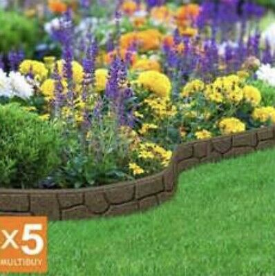 Garden Lawn Edging Flexible Border Path Wall Eco Recycled Rubber Rock New X18