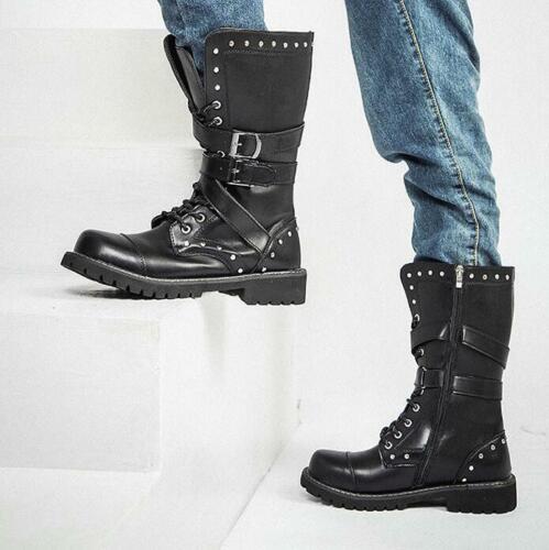 Military Mens Faux Leather Rivets Biker Boots Mid Calf Punk Rock Boots Shoes Hot