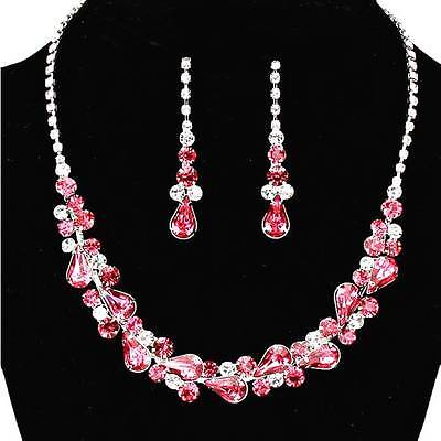 Hot Pink Crystal Bridesmaid Necklace Set Elegant Prom Formal Evening Jewelry