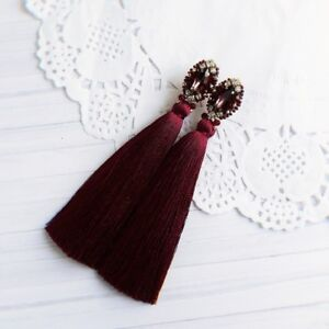 Burgundy Tassel Earrings Tassel Earrings Marsala Tassel Earrings
