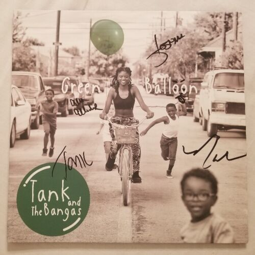 Tank and the Bangas Autographed Green Balloon Vinyl LP Signed By 4