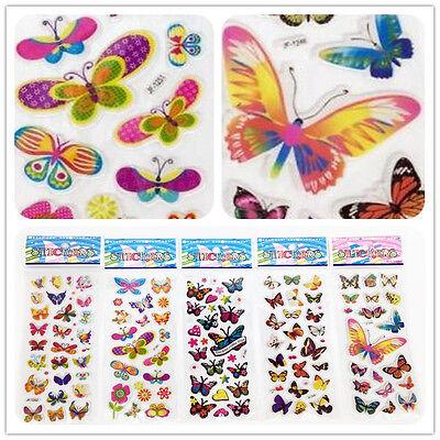 "3D PVC Foam Classic cartoon ""Colorful butterfly""kids favor Stickers 5 sheets/set"