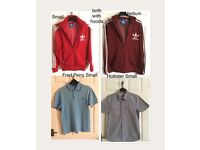 ADDIDAS TRAINER JKTS (2) FRED PERRY POLO(1) HOLISTER SHIRT (1) £18 THE LOT