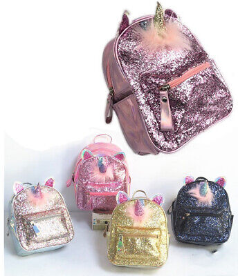 3D Unicorn Sequin Mini Backpack Girls School Rucksack Travel Kids Small Bag -