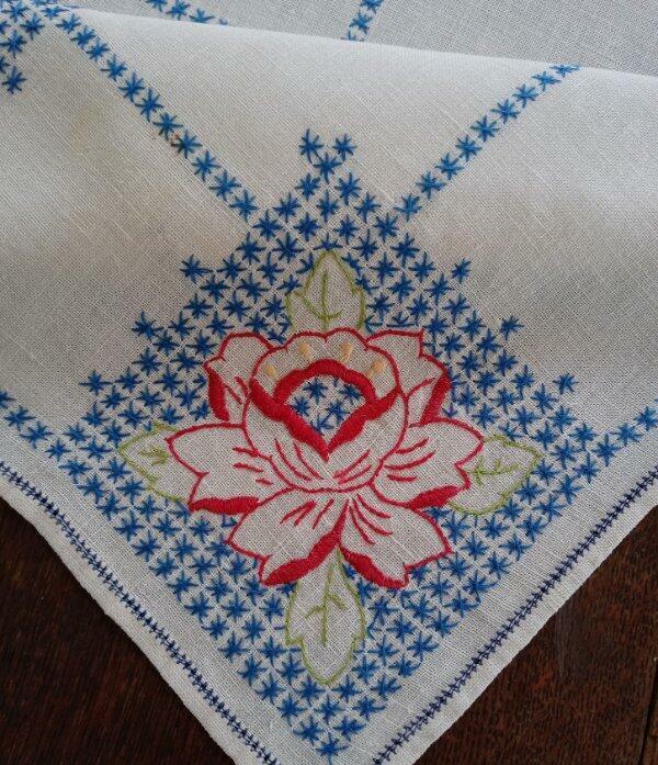 "True Vintage Irish Linen Table Runner Red Roses Blue Stars Hand Embroidered 32"""