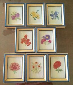 (8) SMALL pictures with Wooden Frames/Glass - in cross stitch. Stratford Kitchener Area image 2
