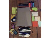 Stationery Job Lot - notebook, pens, pencils, highlighters