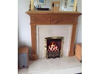 Oak Fire Surround and Marble Fireplace