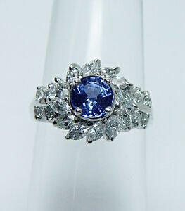 Vintage Ceylon Sapphire Marquise Diamond Ring 18K White Gold Estate Jewelry