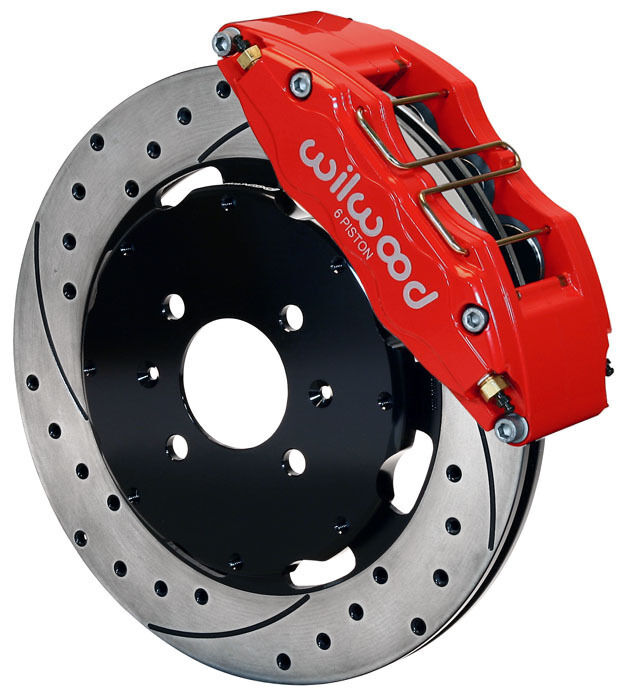 "Wilwood Disc Brake Kit,front,honda,10735,12"" Drilled Rotors,6 Piston Red Caliper"