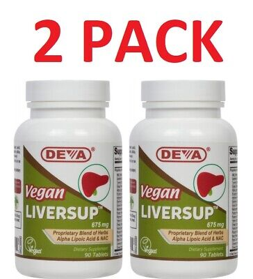 Deva VEGAN LIVERSUP, Alpha Lipoic Acid, NAC, Milk Thistle, (2 PACK)