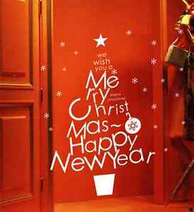 Hand-Carvin-Merry-Christmas-Happy-New-Year-Snowflake-window-wall-stickers-UK