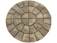 Old Weathered 6ft Patio 2-Ring Paving Circle Feature