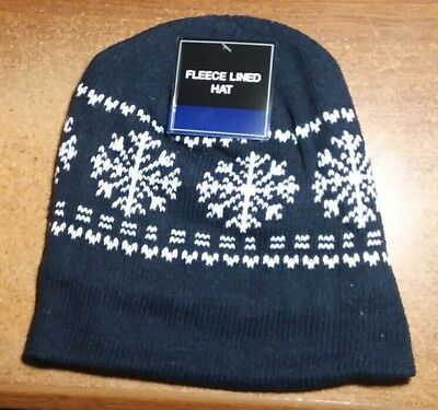 - NAVY BLUE SnowFlake Mens Womens KNIT FLEECE Lined Beanie Hat Cap Warm Winter