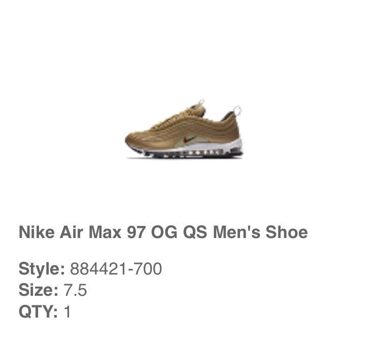Nike Air Max 97 Gold Size 7.5 UK