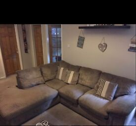 Corner sofa- beige immaculate with arm chair
