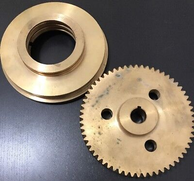 Large Brass Worm Gear Bell Housing Pulley 6-18 D Steam Turbine Part Assembly
