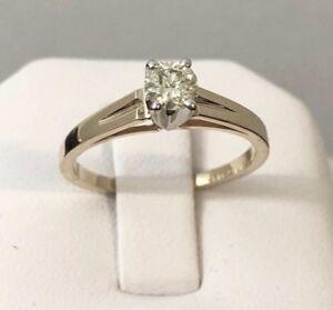 14k yellow gold diamond solitaire engagement ring / Elegant