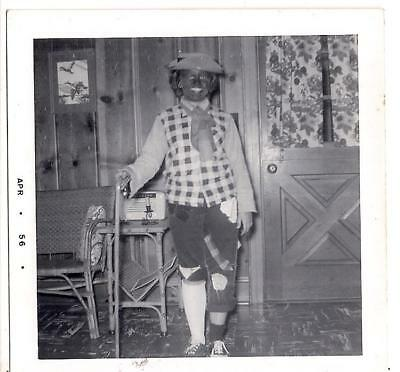 Homemade Hobo? Clown? Halloween Costume Girl Holding Cane Vintage 1956 Photo (Homemade Clown Costumes)