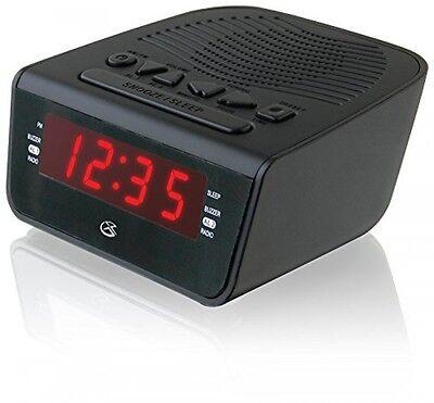 GPX C224B Dual Alarm Clock AM/FM Radio with Red LED Display (Black), New