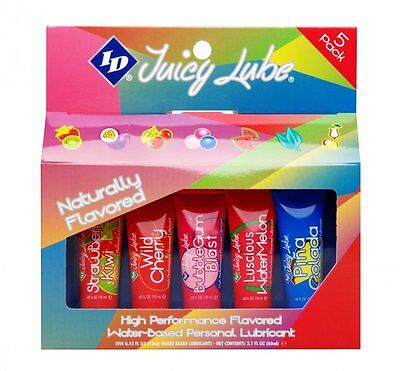 ID Juicy Lube Flavored Edible Water Based Lubricant Non Staining Sex Lube 5pk
