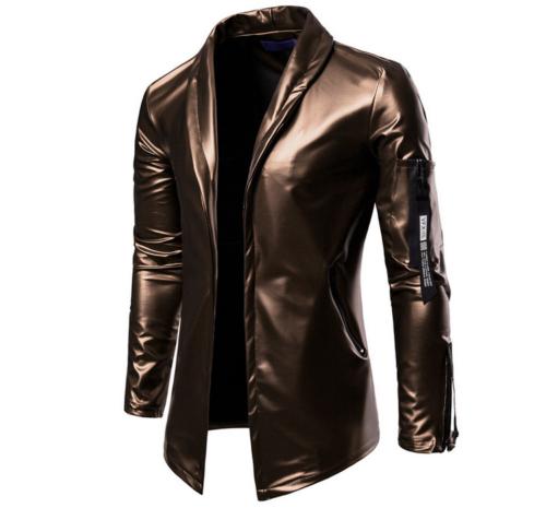 Men/'s Casual Leather Blazer Coat Jacket Slim Fit Outwear Glossy Nightclub Lapel