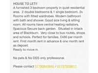 House to let 3 bedroom house blackburn Intack area