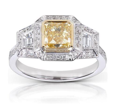 Fancy Yellow Cushion Diamond Engagement Platinum Ring GIA Certified 2.75 Carat