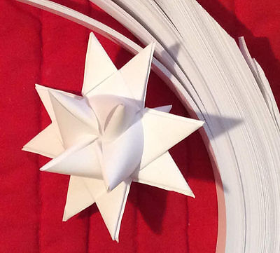 """Paper Strips to make 3D Stars (Moravian Froebel Quilling Weaving) All White ¾"""""""