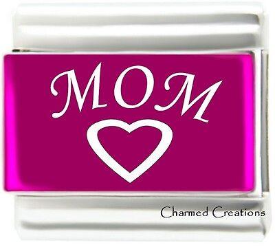 Family Link Charms (Mom Heart Pink Metallic Laser 9mm Italian Charm Modular Link Kids Family )